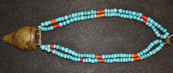 Glass Beads : Authentic Vintage Naga Turquoise Glass Bead and Brass Pendent Necklace #571