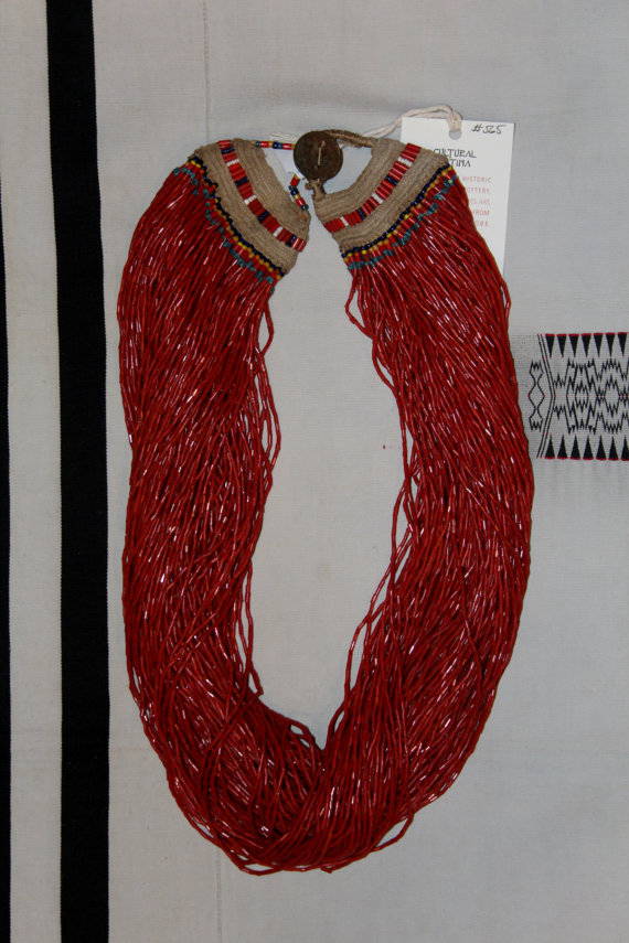 Long Necklace : Authentic Vintage Konyak Naga Massive Extra long And Heavy Red Glass Bead Necklace #565