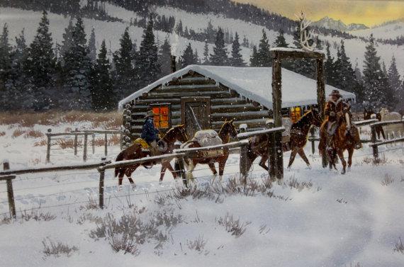 Western Art, Ron Stewart, Western Artist, *Leaving Elk Tracks*, Ca 1980 #730:
