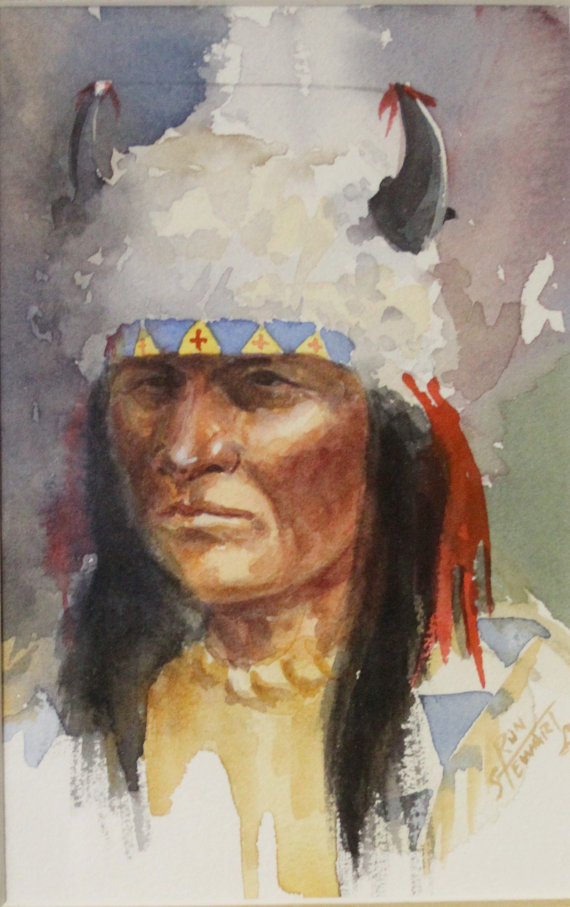Western Art: Ron Stewart, Western Artist, Water Color Painting, *Three Indians and a Mountain Man*, Ca 1980, #731