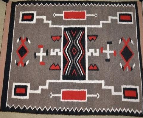 Native Rug : Native American Vintage Navajo Storm Pattern Rug, Ca, 1970's #535