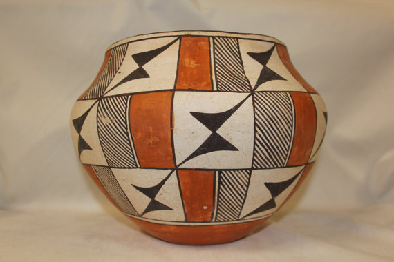 Vintage Pottery : Beautiful Vintage Acoma Polychrome Pottery Olla #273