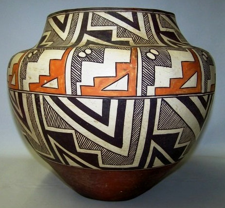 Native American, Historic Acoma Polychrome Olla, #920