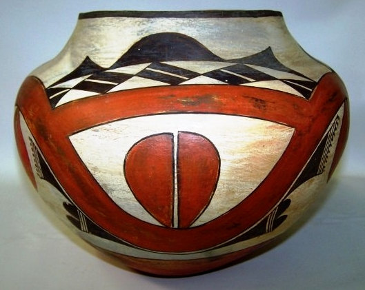Native American, Historic Acoma, Polychrome Olla, #919