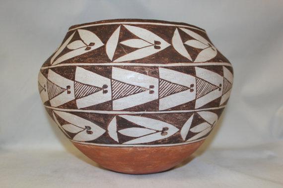 Vintage Pottery : Very Nice Vintage Acoma Polychrome Pottery Olla #274
