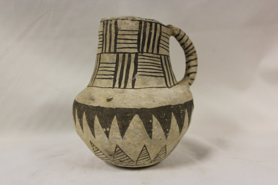 Anasazi Pottery :Very Nice Anasazi Black on White Snowflake Pitcher, Ex Bonhams & Butterfields, New York #269