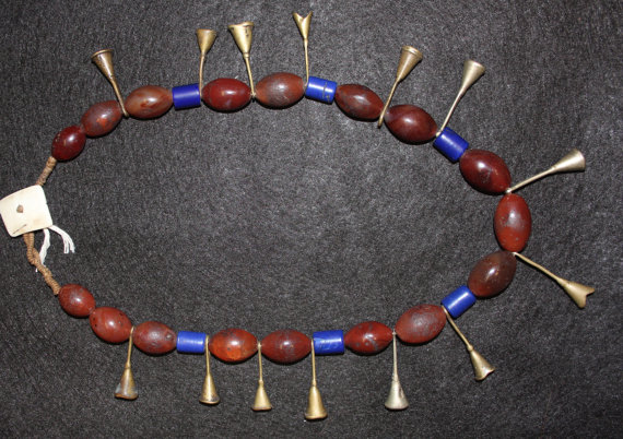 Brass Necklace : Ao Tribe Woman's Extremely Old Carnelian and Brass Bugle Necklace #545