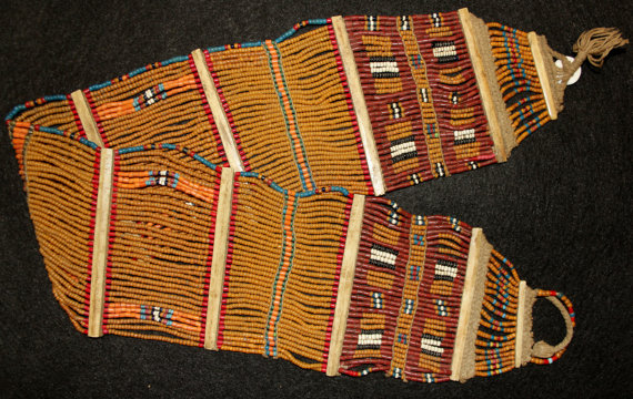 Beaded : Authentic Vintage Konyak Mustard Fine Wide Beaded Belt with Unusual Red and Orange Patterning #551