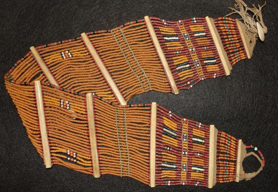 India Clothing : Vintage Konyak Mustard Fine Wide Beaded Belt from North Eastern, India #550