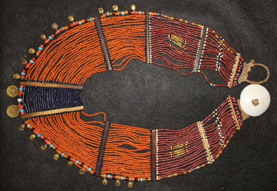 Vintage Jewelry : Authentic Vintage Konyak Dark Orange Large Collar Necklace with Brass Bells and Spiral Elements #556