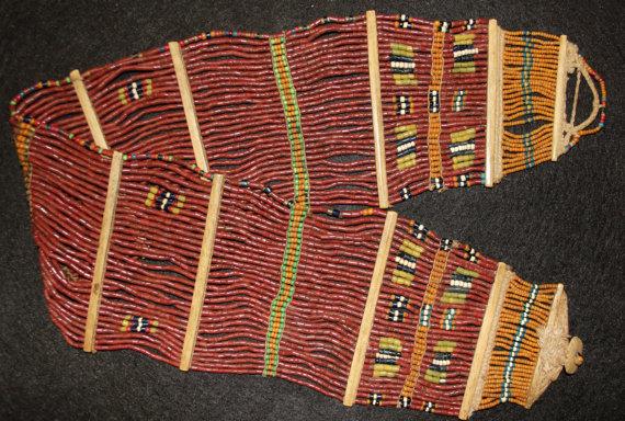 India : Vintage Konyak Brown Beaded Fine Wide Belt from North Eastern India #549