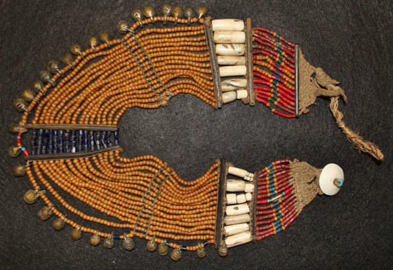 Necklace : Authentic Vintage Konyak Large Mustard Bead Very Old Small Collar Necklace with Bells and Shell Sections #554