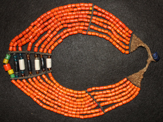 Glass Bead Necklace : Authentic Vintage Konyak Orange Tile Glass Bead Collar Necklace #552
