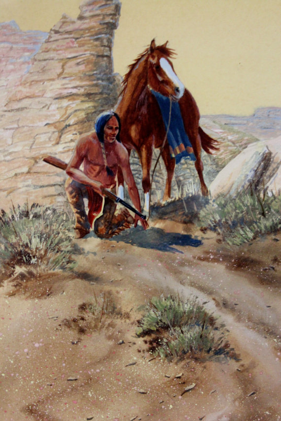 Western Art: Ron Stewart, Western Artist, Water Color Painting, *Warm Trail*, Ca 1980, #727