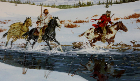 Western Artist: Ron Stewart, Water Color Painting with Remarque, *Run for the Rendezvous*, Ca 1980, #725