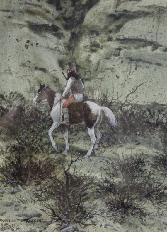 Western Art: Ron Stewart, Western Artist, Water Color Painting, *Moon Light Tracker*, Ca 1980, #728.