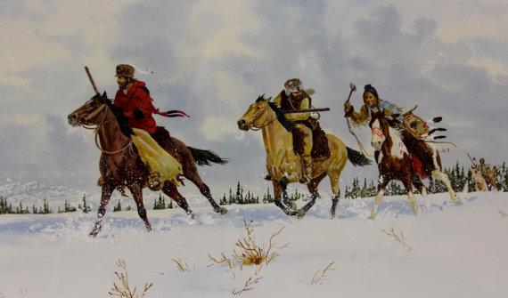 Western Art: Ron Stewart, Western Artist, Water Color Painting, *Winter Encounter*, Ca 1980, #726