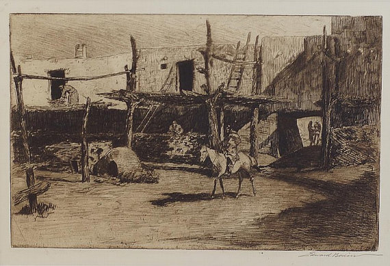Cowboy Art : Edward Borein, Cowboy Artist, Etching,
