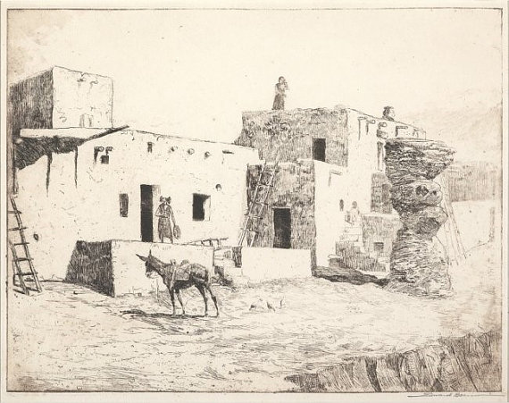 Fine Art : Edward Borein, Etching, Cowboy Artist,