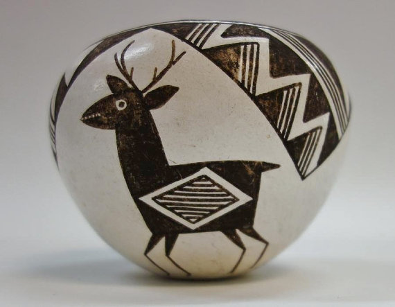 Lucy M. Lewis (1898-1992); Acoma Pottery Vessel, Native American Pottery, Lucy M. Lewis Pottery, #696
