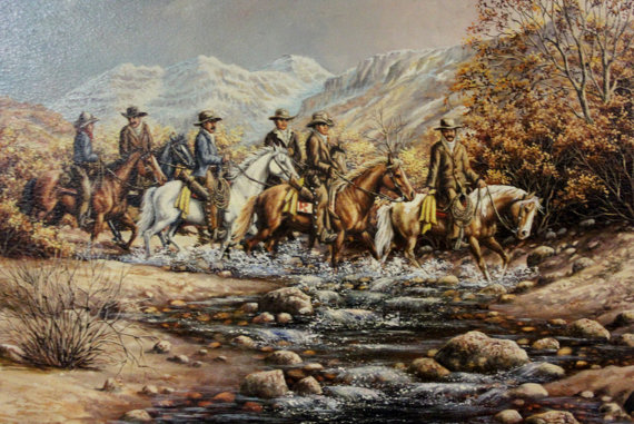 Painting : L. Karren-Brakke Oil Painting of a Group of Cowboys on Horses Crossing a Stream, L. Karren-Brakke Western Artist, CA 1970's, #694