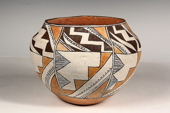 Native American Pottery, Acoma Olla with Steppe and Lightning Theme, CA 1900. #713