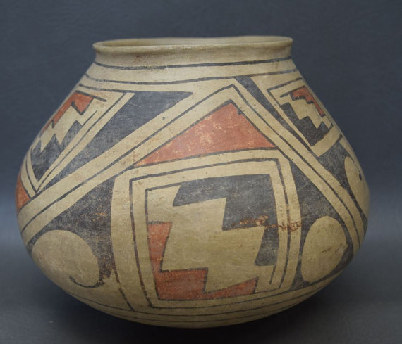 Prehistoric Pottery, Cases Grande Hand Painted Polychrome Pottery Olla, #915