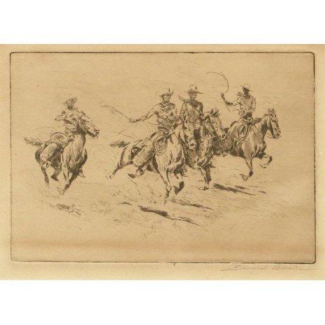 Western Art : Western Artist, Edward Borein, Etching,