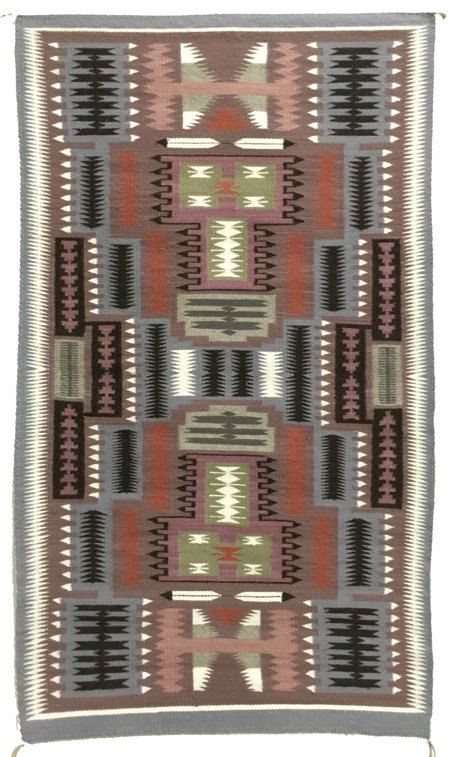Native Rug, Navajo Rug or Weaving, Storm Pattern, ca 1970's #499