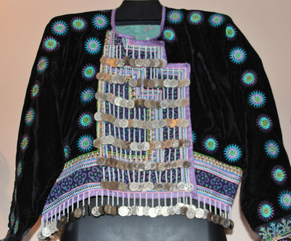 Embroidered Jacket : Extraordinary Akha Hand Embrodered Ceremonial Velvet Jacket #419