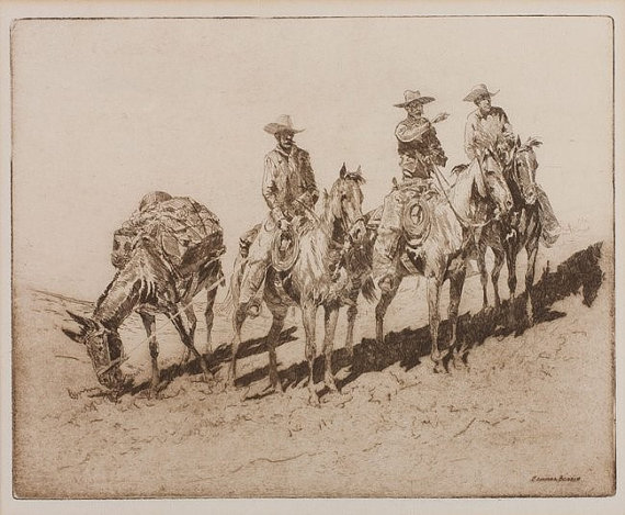Fine Art Etching : Edward Borein, Cowboy Artist,