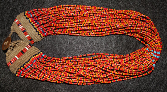 Beaded Necklace : Authenic Vintage Konyak Multicolor Royal Beaded Necklace, from Nagaland, NE India #487