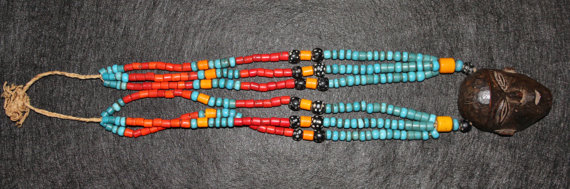 Nagaland : Authentic Vintage Konyak Wood Trophy Head Beaded Necklace from Nagaland, NE India #485