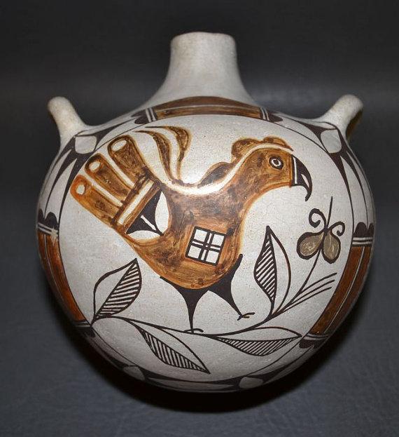 Native American Laguna Polychrome Pottery Canteen, C 1940's-1950's, by Cecilia Gaisthea, #801