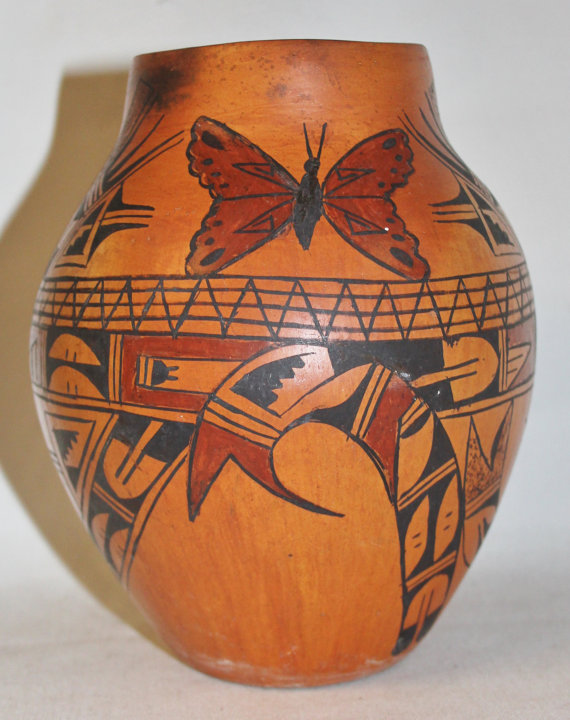 Hopi Pottery by Marlena, Native American Vintage Hopi Butterfly Pot #502
