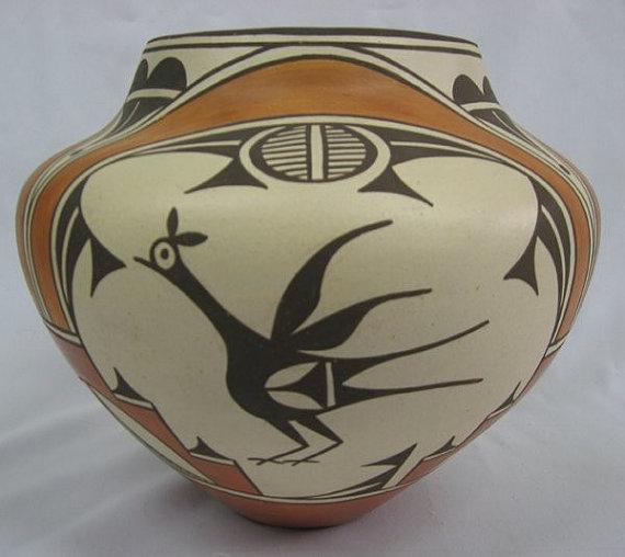 Pueblo Pottery : 1950's Zia Pueblo Bird Polychrome Olla by Sofia Medina #249