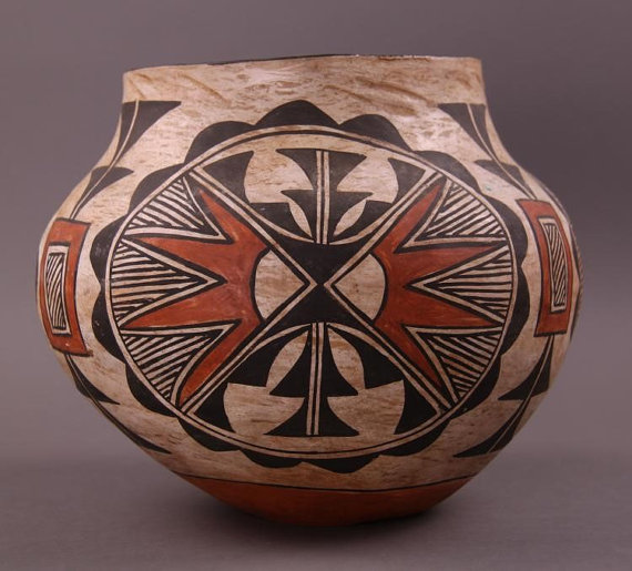 Native American : Vintage Native American Acoma Polychrome Olla #245