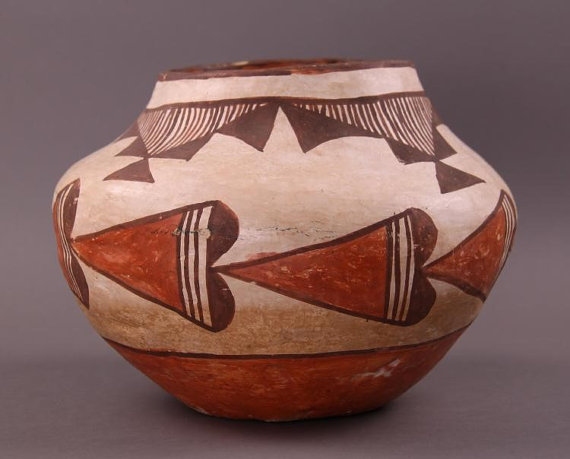 Acoma Pottery : Early Native American Acoma Pottery Olla #246