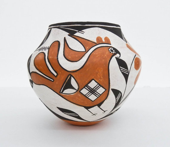 Native Pottery Jar : Excellent Native American Acoma Polychrome Pottery Jar by Lucy Lewis (1900-1992) #472