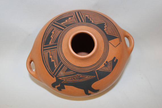 Western Canteen : Native American Santo Domingo Pottery Canteen, signed by Mark Wayne Garcia #132