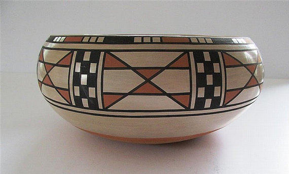 Pottery Bowl : Exceptional Native American San Ildefonso Pottery Bowl, by Blue Corn #238