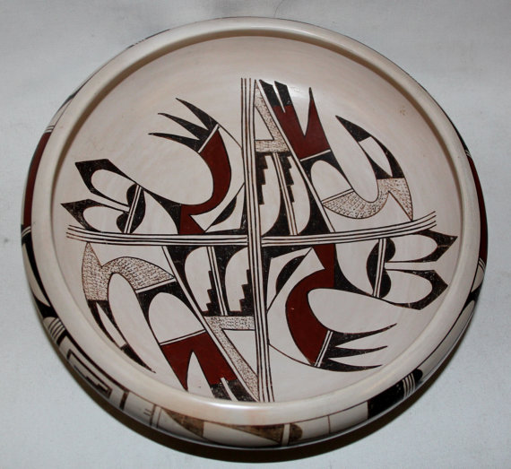 Native American Pottery, Native American Hopi Pottery Bowl, by Joy Navasie, the Frogwoman, CA 1980's, #710