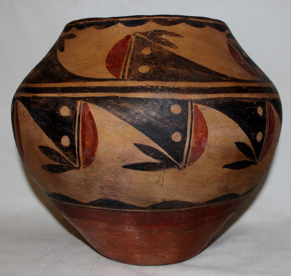 Native American Pottery, Zia Pueblo Pottery Olla, Polychrome Zia Water Jar/Olla, Early 1900's # 681