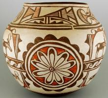 Zuni Pottery, Native American Pottery, Polychrome Pottery Jar, Circa 1920, With Deer and Rosettes, #678