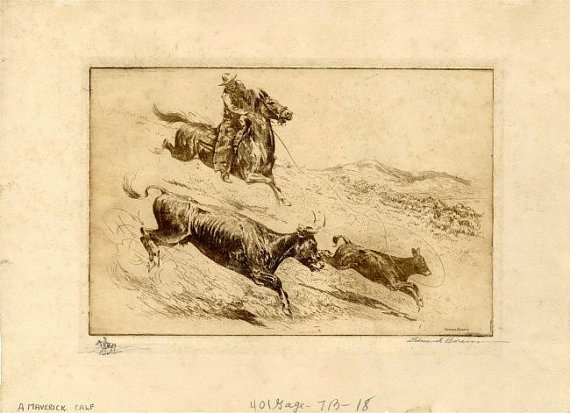 Cowboy Art : Edward Borein, Cowboy Artist, Etching
