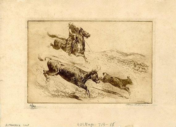 Cowboy Art : Edward Borein, Cowboy Artist, Etching
