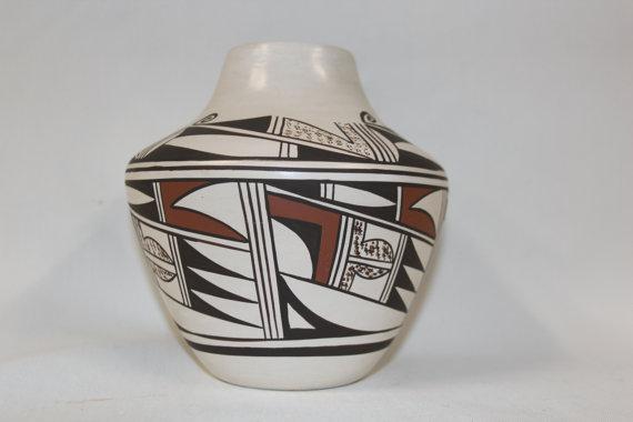 Native American Vase : Native American Hopi Pottery Vase, by Joy Navasie, Frog Woman #177