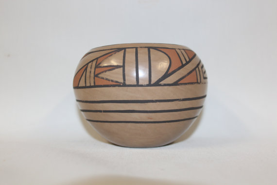 Native American Pottery : Native American San Ildelfonso Pottery Bowl, signed by Blue Corn #134