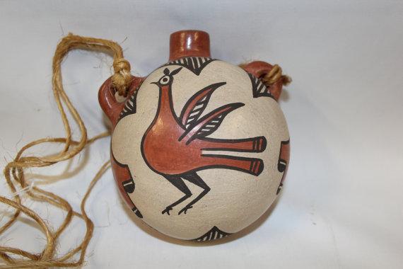 Canteen : Native American Zia Polchrome Bird Design Canteen, signed by Sofia Medina #127
