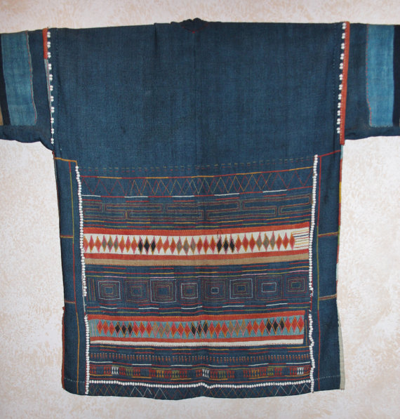 Embroidered Blouse : Extremely Fine Akha Hand Embroidered Ladies Blouse From Northern Thailand. #424